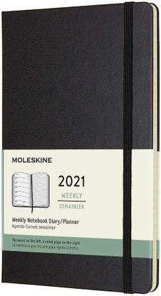 Immagine di 12 MONTHS, WEEKLY NOTEBOOK. LARGE, HARD COVER, BLACK 2021